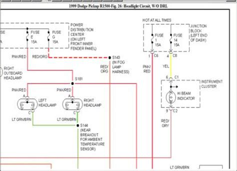 headlight wiring diagram electrical problem 1999 dodge