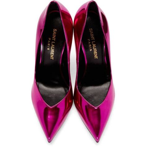 Ysl Pumps Heels 3 Cm laurent new fucshia leather mirror high heels pumps