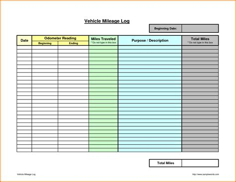 5 printable mileage logreference letters words