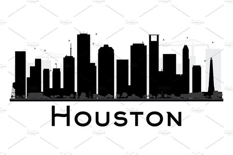 houston city skyline silhouette illustrations creative