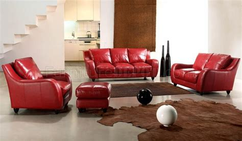 full living room set red full italian leather modern 3pc living room set