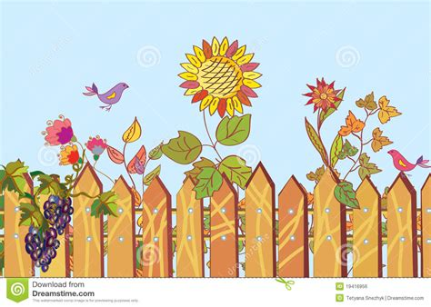 fence and flowers cartoon border royalty free stock image