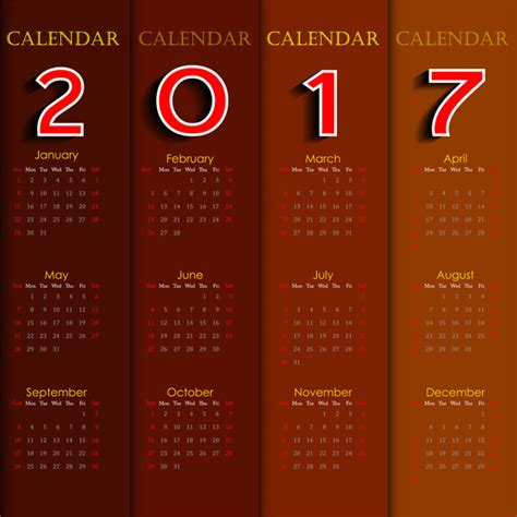 Calendar 2017 Templates Free Vector In Adobe Illustrator Ai Ai Vector Illustration Graphic Adobe Calendar Template