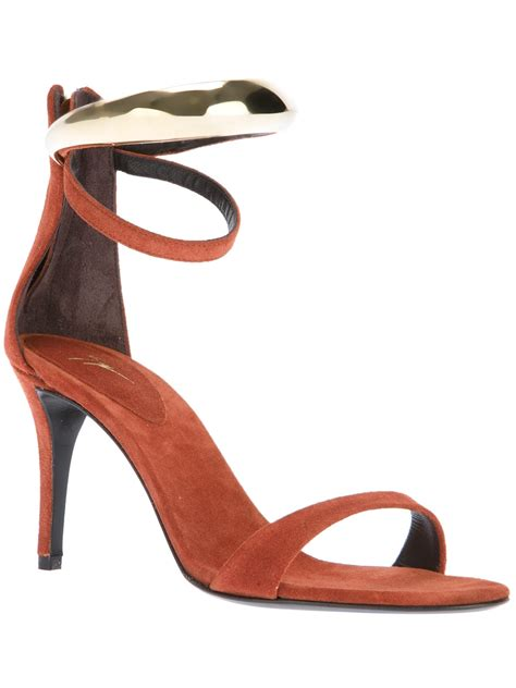 brown ankle sandals giuseppe zanotti ankle sandals in brown lyst