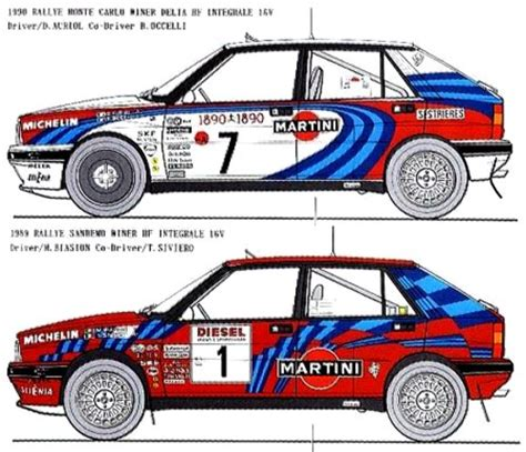 martini lancia lancia delta paint schemes for biasion auriol racing