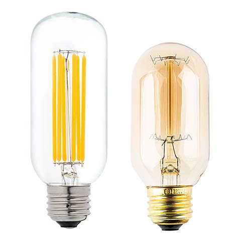 Compare Led Light Bulbs To Incandescent T14 Led Filament Bulb 60 Watt Equivalent Vintage Light Bulb Radio Style Dimmable 780