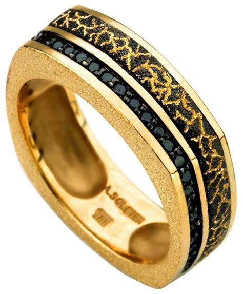 Handmade In Nyc - alex soldier gold and black lava ring handmade in