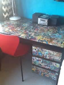 decoupage desk made fabulous for a comic