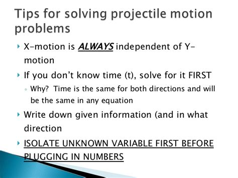 tips and solution tips for solving projectile motion problems