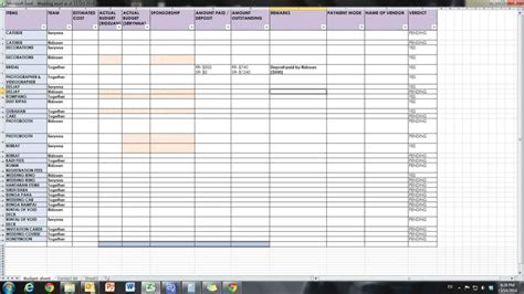 wedding spreadsheet templates spreadsheet templates for