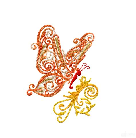 side designs side profile fanciful butterfly embroidery design