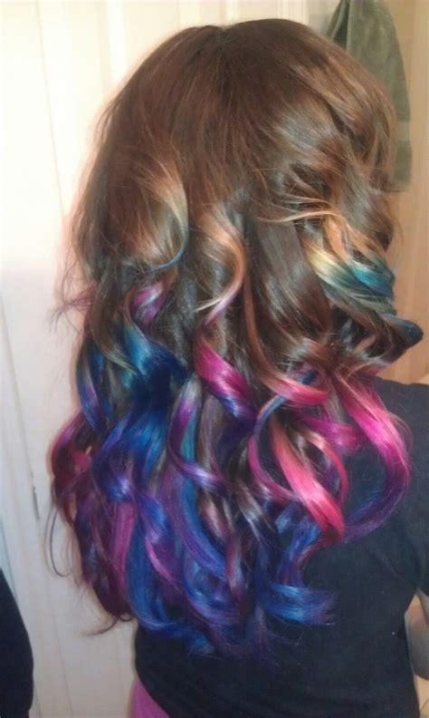 pink blue ombre hair hair