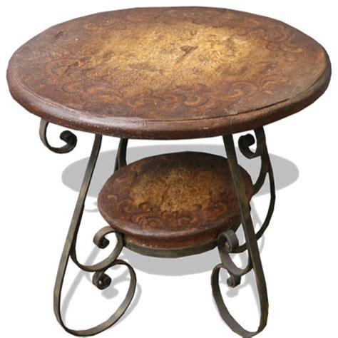 wrought iron accent tables tuscany wrought iron scroll table rustic brown with