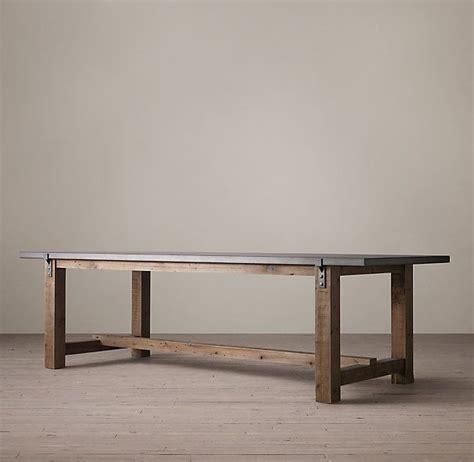 restoration hardware zinc table reclaimed wood zinc top strap dining table 1295 1695