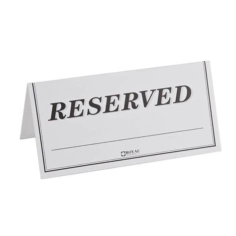 reserved sign template word table tent sign quot reserved quot sided 250 pack