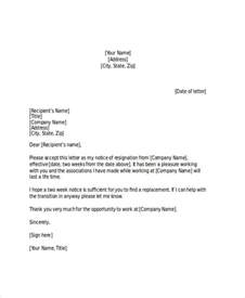 Sle Two Week Resignation Letter by 19 Two Weeks Notice Letter Exles Sles