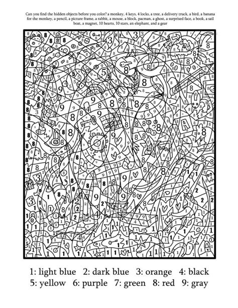 advanced color by number coloring pages just colorings