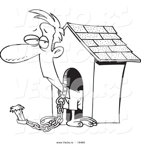 man in the dog house vector of a cartoon man chained by a dog house outlined coloring page by toonaday