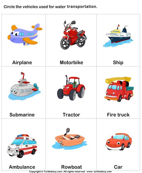 Car Types Of Fluid by Worksheets On Transportation For Kindergarten 1000