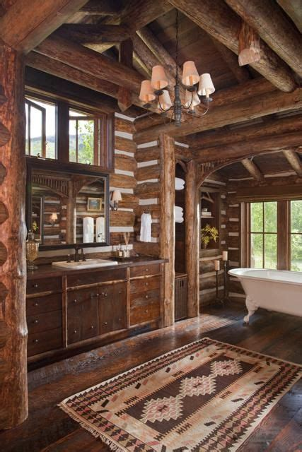 log cabin bathroom decor 39 cool rustic bathroom designs digsdigs