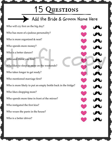 Questions About Groom For Bridal Shower by Groom Trivia Wedding Shower Bachelorette