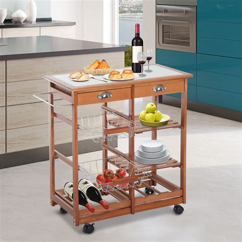 besthomessite photos mobile kitchen islands seating home homcom rolling kitchen trolley cart 4 tier storage wooden
