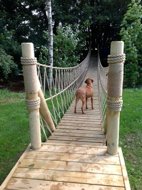 backyard rope bridge treehouse life constructing a rope bridge craftsman