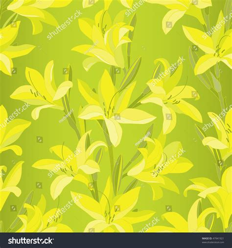 yellow lily pattern seamless pattern with blooming yellow lilies illustration