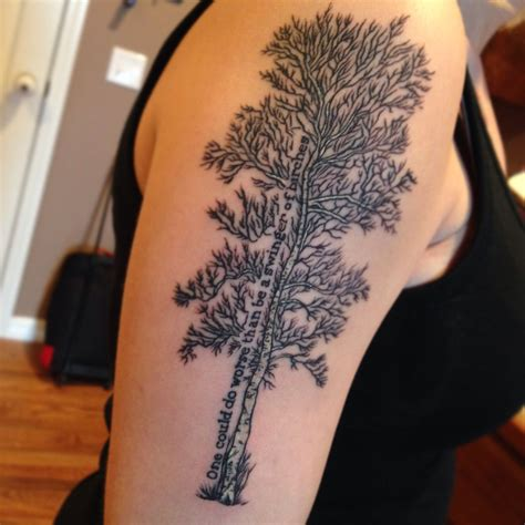 henna tattoo springfield mo birch tree with a line from a robert poem