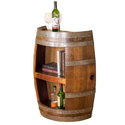 Shelf Of Wine After Opening by Half Barrel Open Front With Shelf Wine Barrel Furniture
