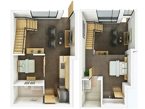 layout rumah 2 kamar denah rumah minimalis 2 lantai 2 kamar tidur terbaru 3d
