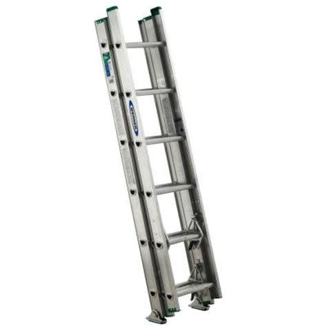 three section ladders werner 16 ft aluminum 3 section compact extension ladder