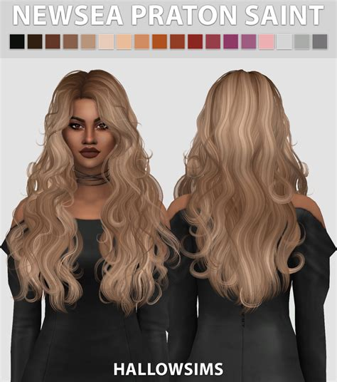 sims 4 cc long curly hair newsea patron saint comes in 18 colours smooth bone