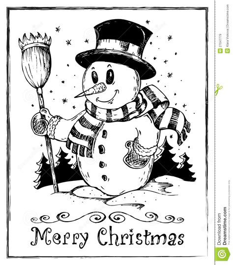 winter themed drawing winter snowman theme drawing 2 stock vector image 27047779