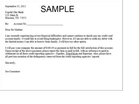 Credit Card Debt Template Letter Free Printable Settlement Letter Sle Form Generic