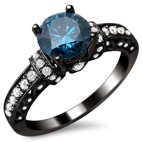 1 35ct blue engagement ring 14k black gold