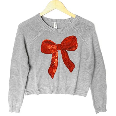 bow sweater bethany mota sequin bow cropped sweater