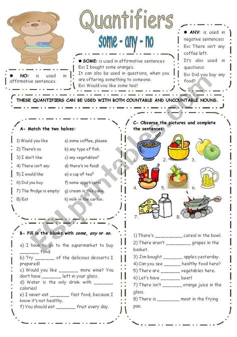 some any no exercises esl worksheet by elisabeteguerreiro