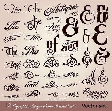 Calligraphic Text Design Elements Vector | calligraphy font vector font calligraphy design