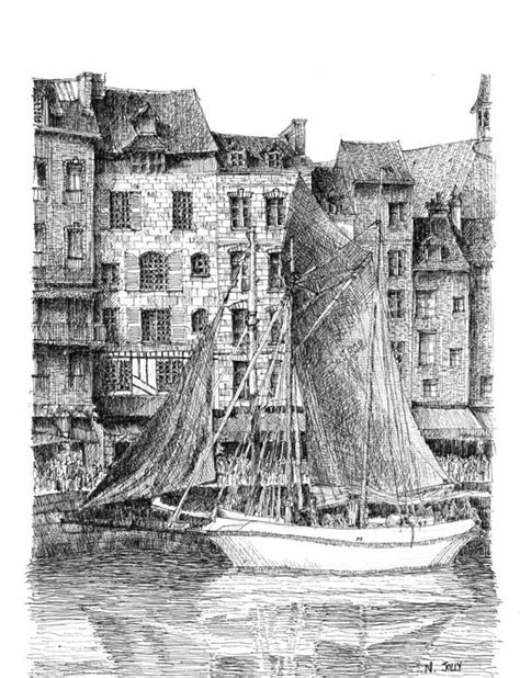 dessin bateau encre de chine coloration maison and normandie on pinterest