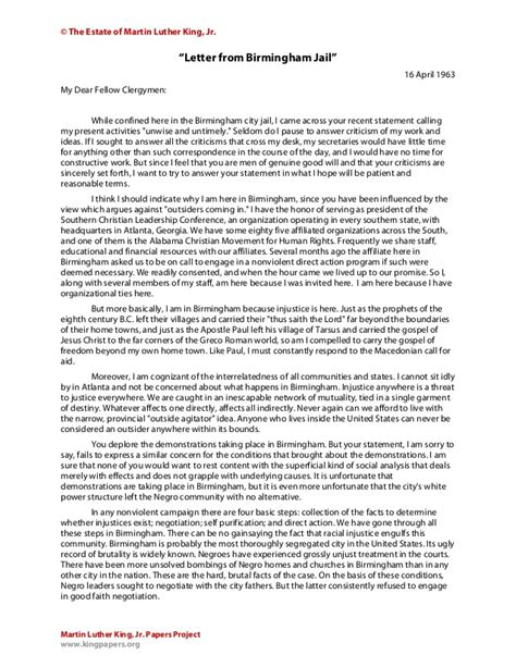 letter from birmingham summary letter from birmingham 1364