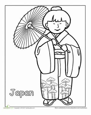 japanese boy coloring page japanese traditional clothing worksheet education com