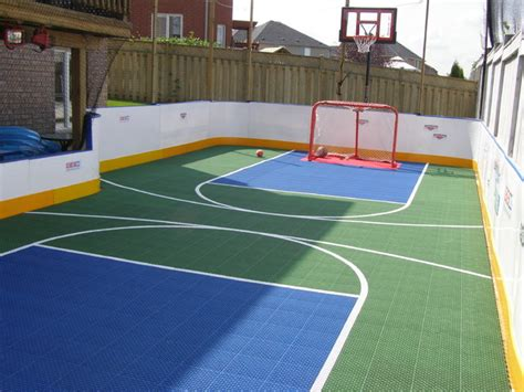 backyard roller hockey rink green blue contemporary landscape