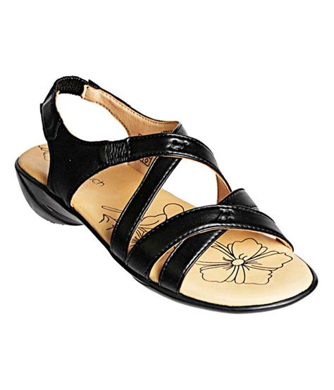 khadim s softouch black sling back low heel sandals buy