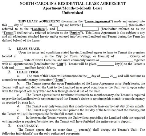 Sle Lease Termination Agreement New York Carolina Residential Tenancy Lease Agreement Carolina Rental Agreement