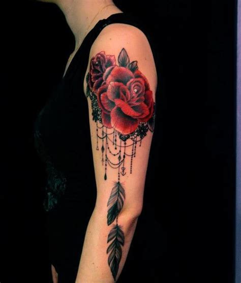 dreamcatcher tattoo with roses meaning lace and roses become a feminine dreamcatcher tattoo