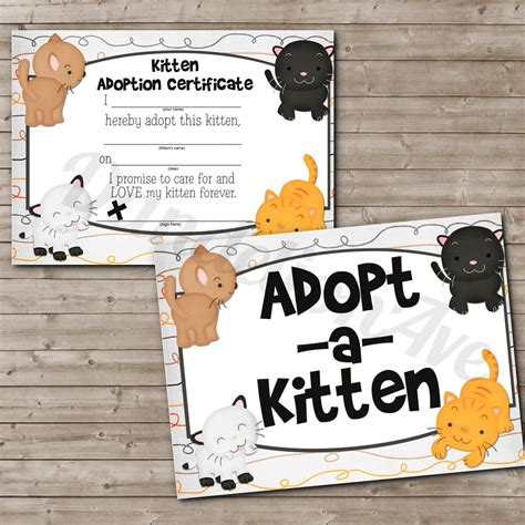 adopt a adopt a kitten adoption certificate and sign set dandelion avenue