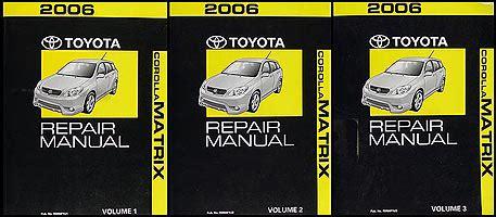 old car repair manuals 2006 toyota corolla windshield wipe control 2006 toyota corolla matrix repair shop manual original 3 volume set