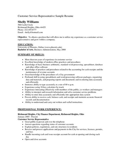 resume for customer service 7 representatives sample