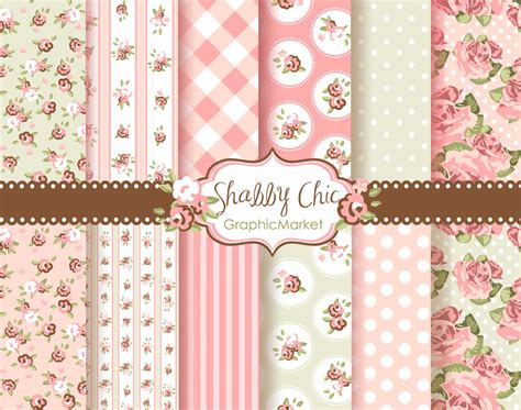 12 shabby chic rose digital scrapbook paper pack for